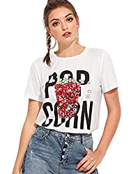 L-White Embellished Short Sleeve T-Shirt Top