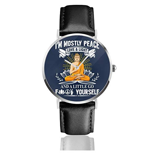 Unisex Business Casual I'm Peace Love Light and A Little Go FCK Yourself Armbanduhr Quarz Leder Schwarz Lederband für Männer Frauen Young Collection Geschenk
