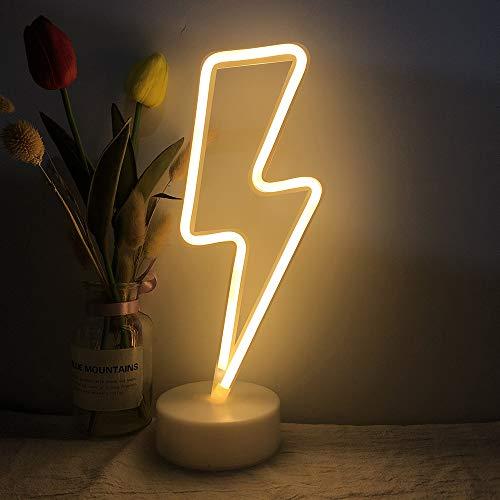 LED Lightning Bolt Neon Light Signs, Warm White Lightning Bolt Shape Baby Kids Night Light Wall Sign Light Battery or USB Operated Lightning Desk Lamp Neon Sign for Bedroom Christmas Halloween Party