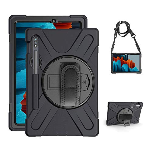 Gerutek Samsung Galaxy Tab S7 11 inch Tablet Case, with Pencil Holder SM-T870/T875 Heavy Duty Rugged Durable Case,360° Kickstand/Hand/Shoulder Strap Silicone Protective Cover for Galaxy Tab S7 Black