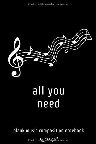 Handliches Musik Notizbuch Notenheft mit Kompositions-Papier zum Song-Schreiben / Song-Writing / Songtext Schreiben: 120 Seiten weisses blanko Noten-Papier