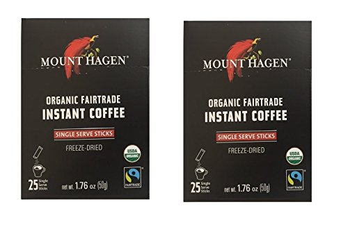 Mount Hagen REGULAR Organic Instant Coffee Freeze Dried 25 Single Serve Packets 176 Oz Each Pack of 2