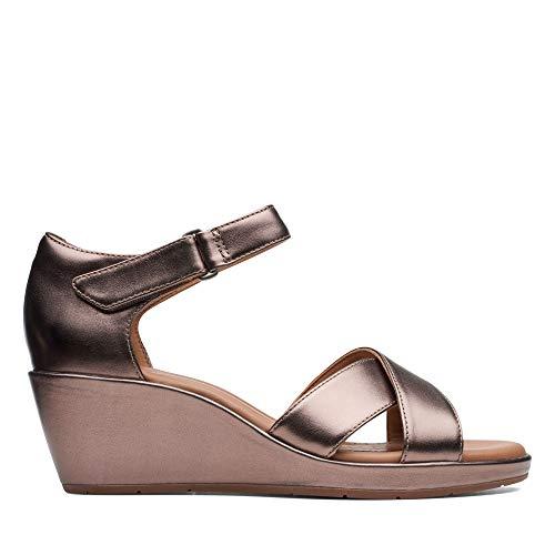 Clarks Un Plaza Cross Pebble Metallic Leather Womens Wedge Sandals 4½
