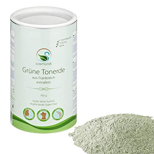 Grüne Tonerde extrafein aus Frankreich 700 g für natürliche Gesichtsmaske Peeling und Haarpflege mit Kaolin, Illite und Montmorillonite