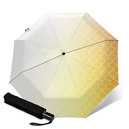 Paraguas de techo naranja con diseño de tejas impermeables, resistente al viento, protección UV, automático, triple plegables, para viajes y para hombres y mujeres