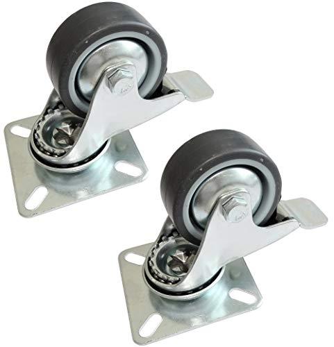 Aerzetix 2 rollen voor meubels, draaibaar, met remmen, diameter 50 mm, breedte 20 mm, hoogte 68 mm, 40 kg, montageplaat 60 x 60 mm, C42225