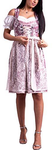 Golden Trachten-Kleid Dirndl Damen 3 TLG, Midi für Oktoberfest, mit Schürze und Bluse,Erikaviolett 535GT (38)