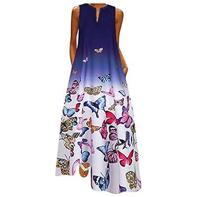 Aniywn Ladies Deep Long Dress Maxi Dress Women's Printed Party Dress