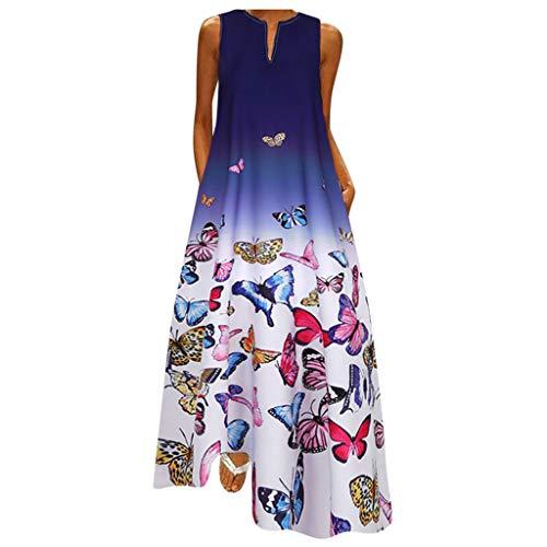 YinGTral Damen Plus Size Butterfly Print Täglich ärmelloses Vintage Boho V-Ausschnitt Maxikleid