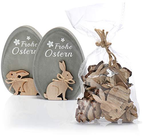 com-four® 3-teiliges Oster-Set Deko-Ei mit Ostergruß Frohe Ostern und Hasen-Streudeko, Zement-Ei mit Hase aus Holz für Tischdeko, Fensterbrett oder als Regal-Dekoration (03-teilig Hasen-Deko)