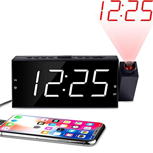 """OnLyee Projection Ceiling Wall Clock, Alarm Clock, 7"""" LED Digital Desk/Shelf Clock with Dimmer, USB Charging, AC Powered and Battery Backup for Bedroom, Kitchen, Kids"""