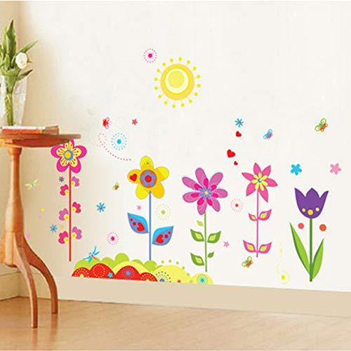 MMLFY MLFY Muurstickers bloemen planten zon muurstickers voor kinderkamer PVC afneembare zelfklevende muurtattoos kinderen slaapkamer woonkamer decor