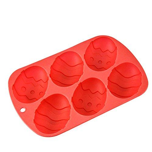 OUNONA ?ufs de Paques Moule ¨¤ Chocolat en Silicone Candy Moule ¨¤ Gateau en Forme d'?uf Cupcake Moule ¨¤ Gateau Rouge