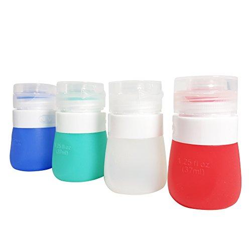 SUNYOU Tragbar Salatdressing Flasche Quetschflasche aus Silikon, BPA Frei, Satz von 4 (37ml)