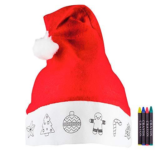 Gorro de Navidad para niños con Dibujos y Ceras para Colorear. Lote de 20 Unidades.Regalos Fiestas Fin de año en colegios y guarderías