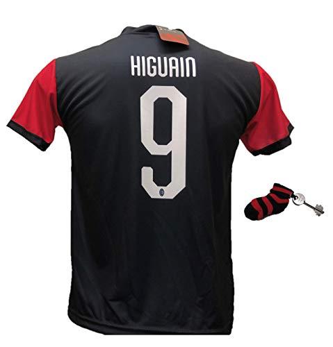 Trikot, Fußballtrikot Milan Higuain 9, zugelassen 2018-2019, mit Geschenk-Socke, Schlüsselanhänger, Rot Kinder- und Erwachsenengrößen, Schwarz , L (adulto)