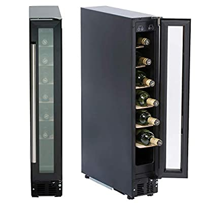 SIA WC15BL 150mm / 15cm Black Under Counter LED 7 Bottle Wine Cooler Chiller from Sia