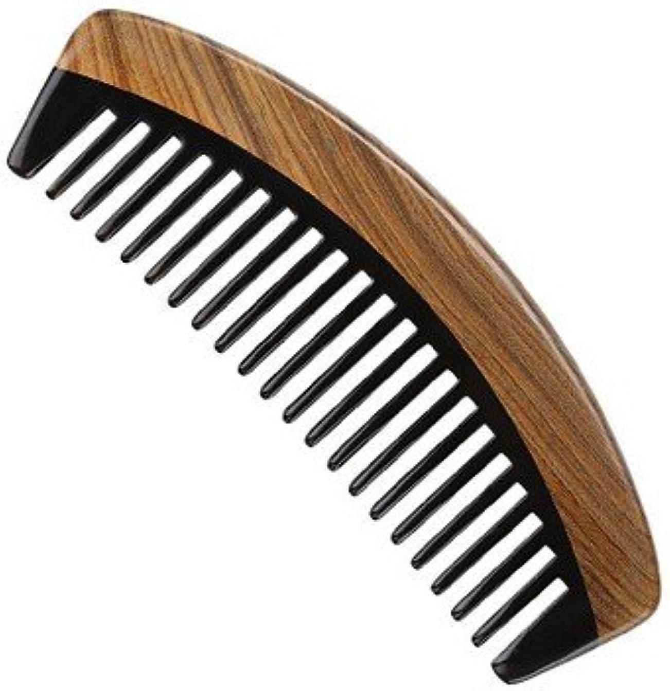ミリメートルガイダンス混雑Myhsmooth G7BBYMT 高級牛角櫛 ヘアコーム 中歯 巻き毛の毛のために 天然素材 静電気防止 頭皮マッサージ(中歯*緑檀+牛の角)