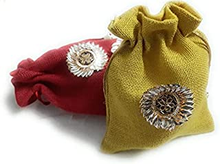 JainSaab Pack of 5 Jute Potli with Gota Flower for Dry Fruits Packing, Shagun Pouch Potli in, for Wedding, Engagement and ...