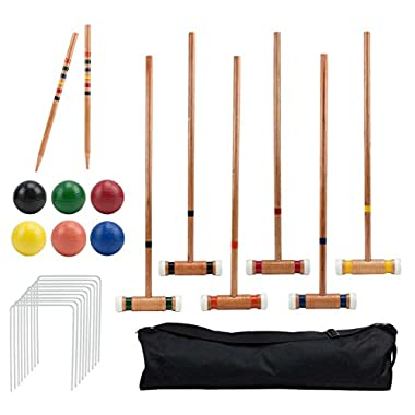 Crown Sporting Goods Six-Player Deluxe Croquet Set with Wooden Mallets, Colored Balls, Sturdy Carrying Bag - Classic Outdoor Yard Game by