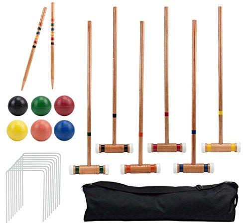 Six-Player Deluxe Croquet Set with Wooden Mallets, Colored Balls, & Sturdy Carrying...