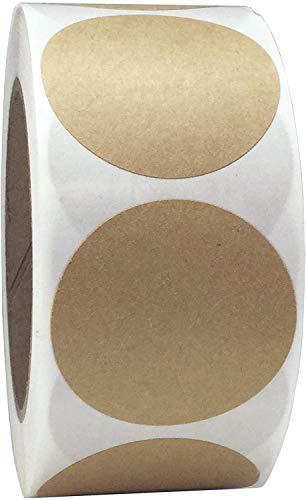 Etiquetas adhesivas autoadhesivas de círculo de Kraft natural, color marrón, 25 mm, 1 pulgada, pequeñas etiquetas...