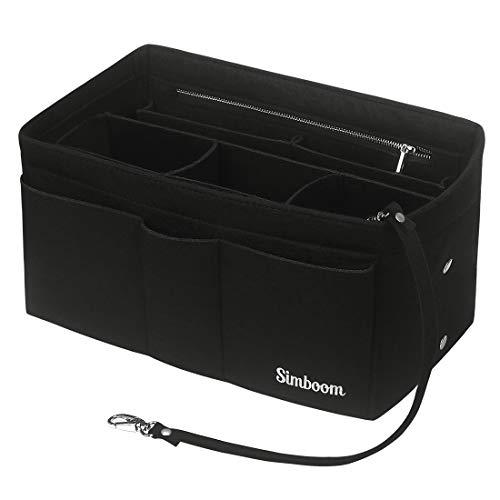 Simboom Organizador de Bolso de Fieltro, Organizador Bolso Insertar para iPad Mini, Cosméticos, Billetera, Perfume, Llave (Negro, M)