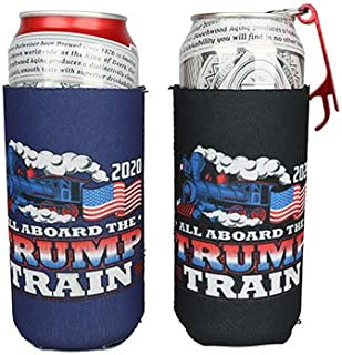 ZAIYUXIO Trump 2020 Slim Beer Coozies for Cans Cooler Sleeves 12 Oz/16oz 2 Pack and Opener Camping Accessories Gifts for Men