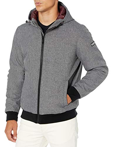 DKNY Men's Softshell Hooded Bomber Jacket, Heather Grey, Large
