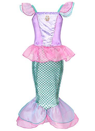 Jurebecia Mädchen Prinzessin Kostüme Meerjungfrau Mädchen Prinzessin Kleid Verkleidung Karneval Party Halloween Fest Geburtstagsfeier