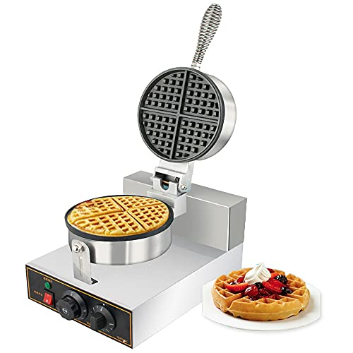 funchic Waffle Maker, Commercial Waffle Iron Maker Machine with Timer, Stainless Steel Body Nonstick Coating, Round Chaffle/Pancake Maker Machine with Removable Plates, Double Side Heating 110V (U.S Shipping)