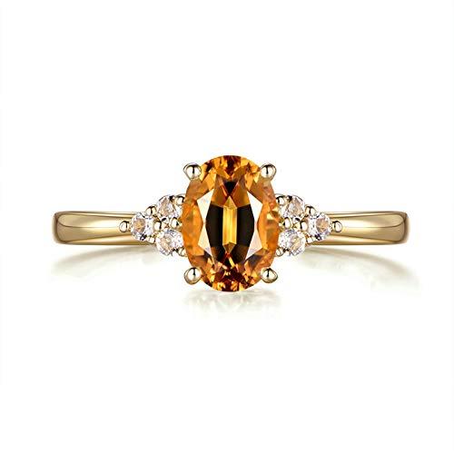 KnSam 750 Gold Gelbgold Ring Goldring Damen 750 Ringe Damen Verlobung Oval Einfach Ring Mit 0.91Ct Citrine Und 0.08Ct Aquamarin Gold Echt Gold Ring