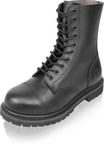 Gear Walk Springerstiefel 10, 14 oder 30 Loch mit Stahlkappe und echtem Leder Farbe Schwarz/10-Loch Größe 11