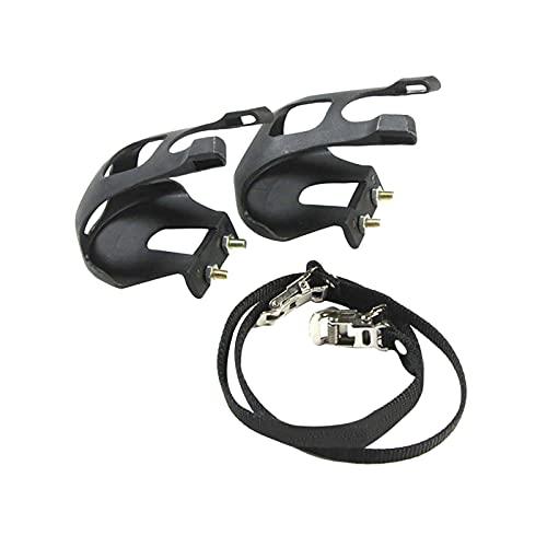 DFBGL 1 par de Pedales de Bicicleta con Pinza para el Dedo del pie y Correa, Cubierta para el pie del Pedal de Bicicleta Pedales de plástico para Bicicleta para MTB y Pinzas para el Dedo