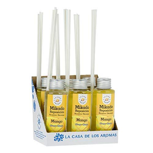 La Casa de los Aromas, Set de 6x100ml Ambientadores Mikado Mango para Reposición con Varillas, Difusor Líquido de Aroma Mango, Perfume Duradero para el Hogar, Baño, Casa