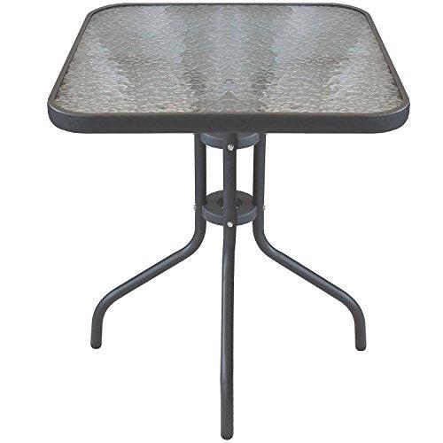 Multistore 2002 Bistrotisch Balkontisch Glastisch 60x60cm Beistelltisch Gartentisch mit Glasplatte - Anthrazit