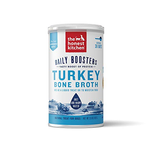 The Honest Kitchen Daily Boosts: Instant Turkey Bone Broth Liquid Treat with Turmeric for Dogs and...