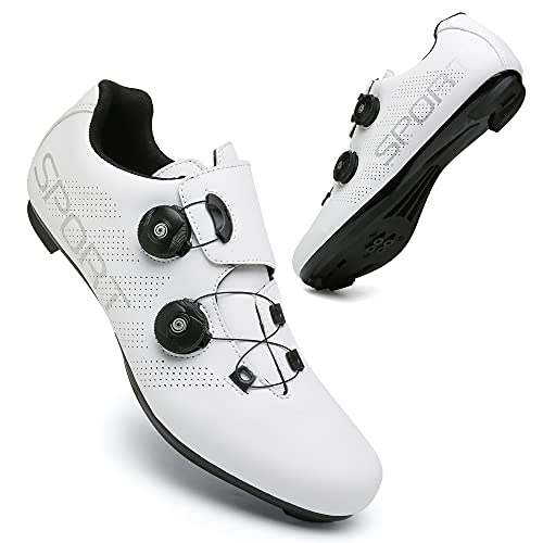 KUXUAN Calzado de Ciclismo para Hombre Bicicleta de Carretera con Tacos Compatibles Zapato de Pelotón con Zapatas de Bicicleta con Pedal SPD y Delta Lock,White-6.5UK=(250mm)=40EU