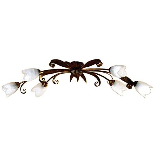 Onli 4240/PL6 kroonluchter, bruin/wit, 6 lampen, metaal; glas