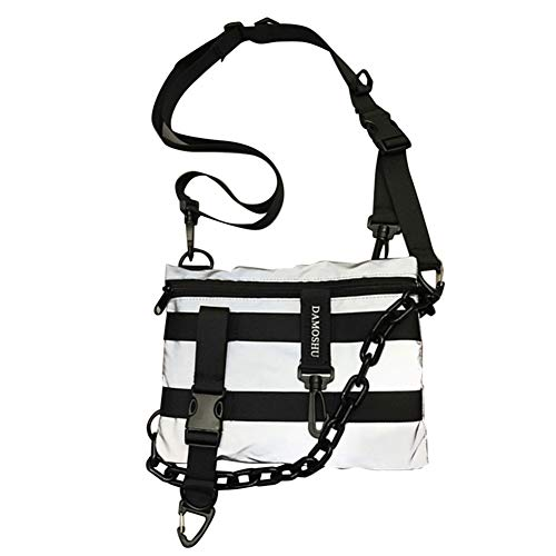 Gesh Función reflectante bolsa de mensajero Chaleco pequeña bolsa de estudiante casual bolsa de hombro con colgante gris (con palabra DAMOSHU), color Gris, talla Talla Unica