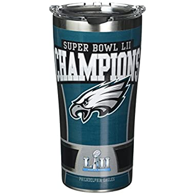 Tervis 1293848 NFL Philadelphia Eagles Super Bowl 52 Champions Stainless Steel Insulated Tumbler with Clear and Black Hammer Lid 20oz, Silver