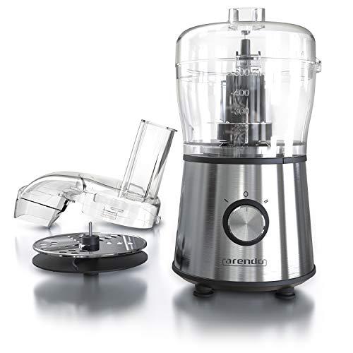 arendo Mini-Küchenmaschine mit automatischer Multifunktions-Maschine - Zerkleinerer - Gemüseschneider - 2 Velocitá - Double-Face Klinge + Zerkleinerer - 500 ml aus Glas