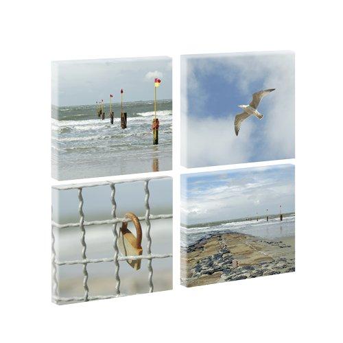 Bild auf Leinwand mit Landschaftsmotiv 4-teilige Serie Norderney | 4 x 30 x 30 cm, Farbig, Wandbild, Leinwandbild mit Kunstdruck, Nordseebild mit Strandmotiv auf Holzrahmen gespannt, 65x65 cm