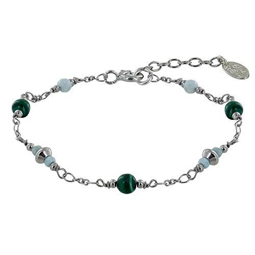 Schmuck Les Poulettes - Rhodium Silber Armband DREI Malachit Perlen Zwei Larimar Facetten Perlen und Vier Facettierte Larimar Ringe