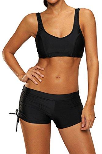 Labelar Damen Sport Bikini Set Push Up Badeanzug mit Panty Sexy Sportlich Bademode, Farbe-2, XL: EU 40