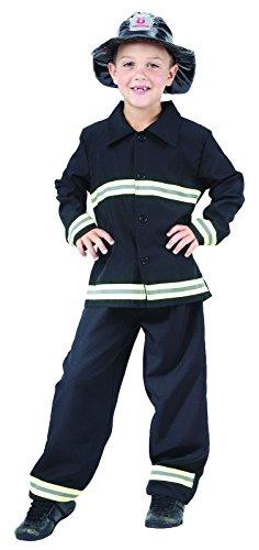 Rire Et Confetti - Fiapol021 - Déguisement pour Enfant - Costume Petit Pompier Noir - Garçon - Taille S