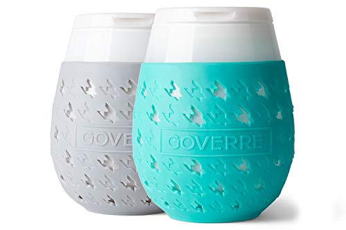 GOVERRE: Portable Stemless Travel Wine Glass   Adult Sippy Cup Holds 17 oz.   Tumbler w/Silicone Sleeve & Spill Proof Drink-Through Lid. (Party, Pool, Beach, BBQ, Hostess) (Turquoise & Grey), Set of 2