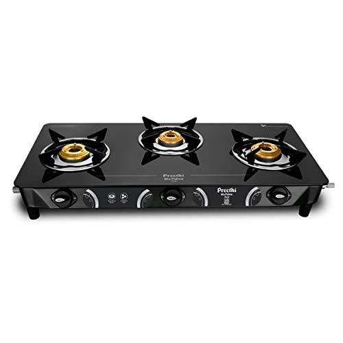 Preethi Zeal 3 Burner Glass Top Gas Stove (Black)