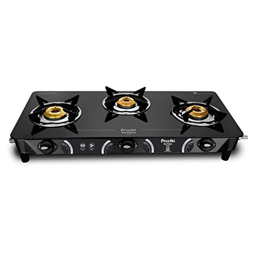 Preethi Zeal 3 Burner Glass Top Gas Stove (Black)