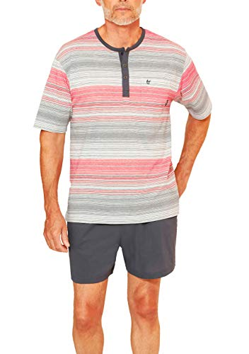 hajo - Herren Schlafanzug kurz (Shorty) Graphit rot Klima-Komfort* 52 / L